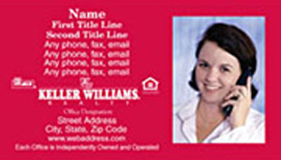 Keller Williams Business Card – horizontal - red design business card with agent photo - KW-1-RED-PHOTO