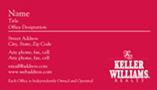 Keller Williams Business Card – horizontal - red design business card - KW-1-RED