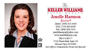 Keller Williams Business Card – horizontal - white design Keller Williams business card with agent photo - KW-1-WHITE-PHOTO