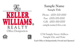 Keller Williams Business Card – horizontal - white design Keller Williams business card - KW-1-WHITE
