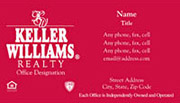 Keller Williams Business Card – horizontal - RED - KW-2-RED