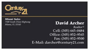 Century 21 Business Card - horizontal - black - C21-Black-2