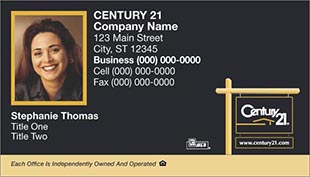 Century 21 Business Card - horizontal - Black with Photo - C21-Black-4