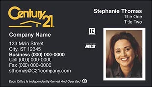 Century 21 Business Card - horizontal - With Photo - C21-Black-5