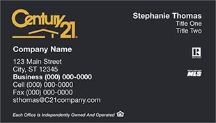 Century 21 Business Card - horizontal - Black with C21 Logo - C21-Black-7