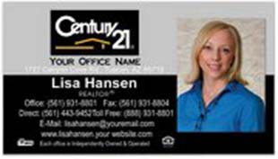 Century 21 Business Card - horizontal - Gray/White with Photo - C21-Black-9