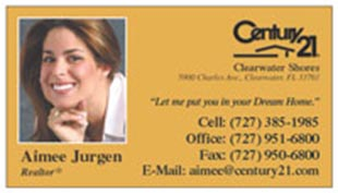 Century 21 Business Card - horizontal - Orange background with photo - C21-Color-10