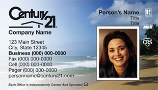 Century 21 Business Card - horizontal - beach background with agnet photo - C21-Color-5