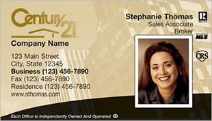 Century 21 Business Card - horizontal - building background with photo - C21-Color-4