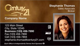Century 21 Business Card - horizontal - brown/black background with agnet photo - C21-Color-6