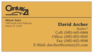Century 21 Business Card - horizontal - light orange background color - C21-Color-9