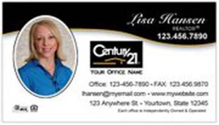 Century 21 Business Card - horizontal - swift black and white background with agent photo - C21-white-10