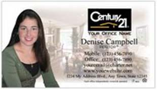 Century 21 Business Card - horizontal - living room background image with agent photo - C21-white-11