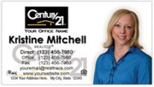 Century 21 Business Card - horizontal - white background with agent photo - C21-white-12