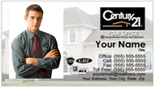 Century 21 Business Card - horizontal - House background image with agent photo - C21-white-1