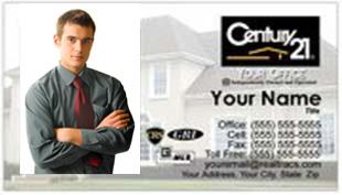 Century 21 Business Card - horizontal - House background image with agent photo - C21-white-1