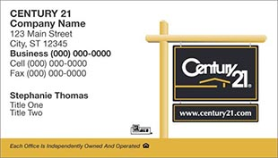 Century 21 Business Card - horizontal - white background with Century 21 Sign - C21-white-14