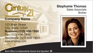 Century 21 Business Card - horizontal - house background image with agent photo - C21-white-15