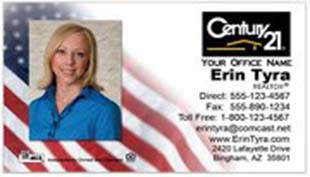 Century 21 Business Card - horizontal - American Flag background with agent photo - C21-white-2