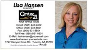 Century 21 Business Card - horizontal - white background with agent photo - C21-white-3