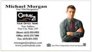 Century 21 Business Card - horizontal - white background with agent photo - C21-white-4