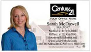 Century 21 Business Card - horizontal - house background image with agent cutout photo - C21-white-5