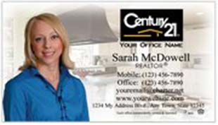 Century 21 Business Card - horizontal - house background image with agent photo cutout - C21-white-6