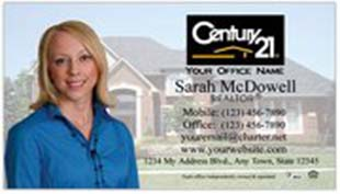 Century 21 Business Card - horizontal - house background image with agent photo cutout - C21-white-7