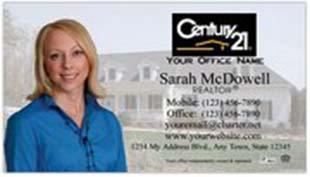 Century 21 Business Card - horizontal - house background image with agent photo cutout - C21-white-8