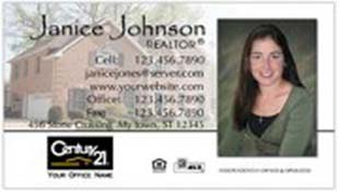 Century 21 Business Card - horizontal - house background image with agent photo cutout - C21-white-9