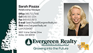 Evergreen Realty Business Card - horizontal - tree background image with agent photo - EV-1-WHITE-PHOTO