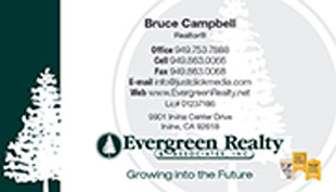 Evergreen Realty Business Card - horizontal - tree background image - EV-1-WHITE