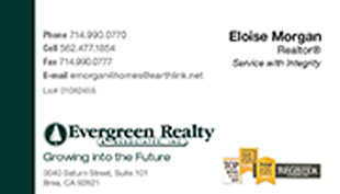 Evergreen Realty Business Card - horizontal - clean simple design - EV-2-WHITE