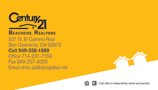 Century 21 Business Card - horizontal - Yellow/white background - C21-Color-11