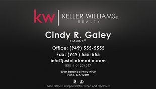 Keller Williams Business Card – Black with no photo - KW-13-Black
