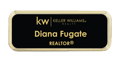 Name Badge - Black Background with Gold Lettering